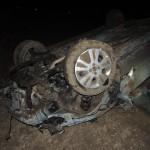 Un autoturism s-a răsturnat în afara spațiului carosabil la Unirea